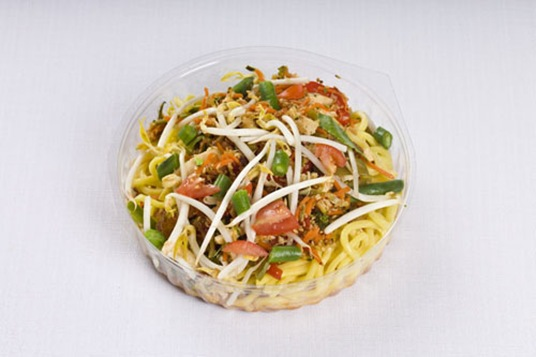 herb omelet with fried noodles