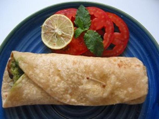 kebab roll with green chutney