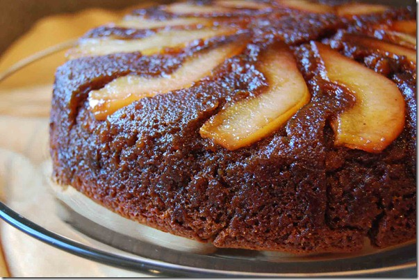 chocolate pear upside down cake