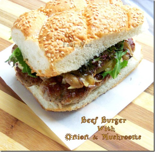 Beef Burger With Onion And Mushrooms